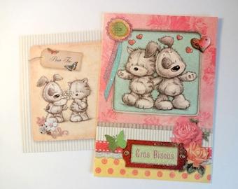 "Stuffed animals card - ""Love"" + envelope"