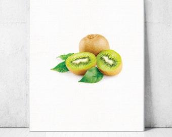 Kiwi fruit Print,Fruits Poster,Printable kitchen art,Printable Art Canvas,Watercolor Art Print,Larger Wall decor Home Decor,Digital Images