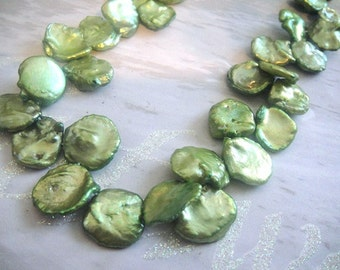 Green Keishi Pearls, Freshwater Cornflake Pearls,  High Quality, 13-15mm approx, June Brides, 1/2 strand