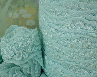 3yds Blue Stretch Lace Trim Scolloped edge 1 1/4 inch Light Baby Blue Elastic Lace Garter Wedding Headband Elastic by the yard