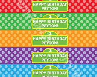 Happy Birthday Sesame Street Rainbow Polka Dot Water Bottle Labels - Customized Digital File