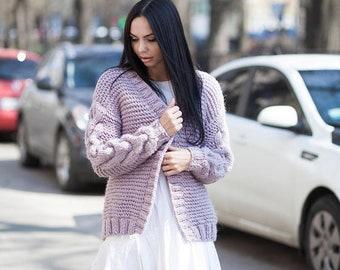 Chunky knit cardigan alpaca cardigan alpaca yarn knit lilac coat boho coat Oversized cardigan Knitted wool coat Chunky coat braid cardigan