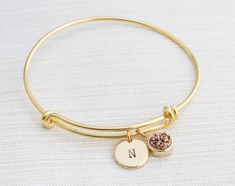 Gold Bangle & Druzy Charm , Initial Bracelet, Gold bangle , Gift Idea