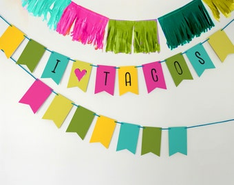Taco Party Banner, Taco Party Bunting Banner, Fiesta Party Banner, Cinco De Mayo Party Banner, Fiesta Party Sign, Fiesta Table Backdrop