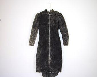 80's BLACK DENIM ZIP up dress