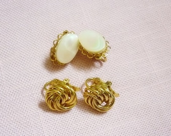 2 pair Earrings Mother of Pearl Clip ons-Gold Knot clip ons-2 pair Vintage Clip ons