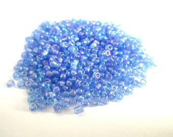 10 grams of seed beads purple blue 2mm (about 800 beads)