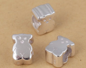 S925 Sterling Silver little bear shape beads Large hole/big hole European style bracelet charms beads , bright silver ,10mm 1pc