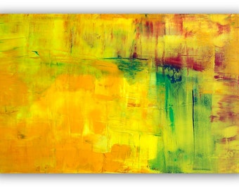 """Large original abstract painting 30""""x48"""", Tequila Sunrise yellow, cadmiums, green, red, blue wall art painting by Victoria Kloch"""