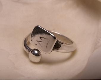 Coussin anneau et boule - argent Sterling - personnaliser avec initiale ou symbole de choix RF102