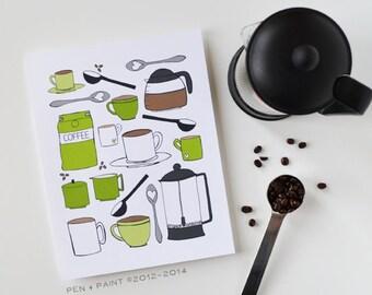 CHOOSE your color, Kitchen Art, Kitchen Decor, I love coffee, coffee lover, coffee cup, coffee pot, Art Print 5x7 8x10 11x14