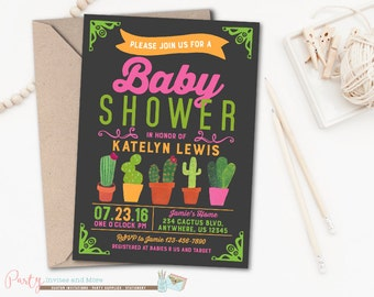 Baby Shower Invitation, Cactus Baby Shower Invitation, Cactus Invitation, Fiesta Baby Shower Invitation, Fiesta Baby Shower, Cactus, Cacti
