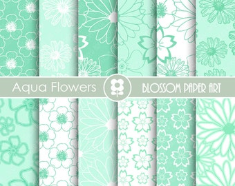 Aqua Digital Paper, Wedding Digital Paper Pack, Digital Paper Pack, digital backgrounds, Floral Wedding Papers -1677