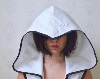Reversible Cropped Jacket Shrug with Oversized Hood