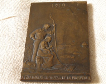 RARE WWI French Bronze Plaque 1919 - Hallmarks