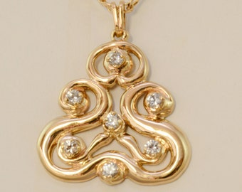 14k Gold Celtic Pendant  with White Sapphires Hand Made OOAK