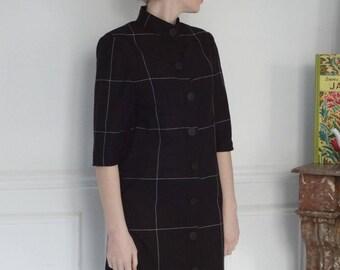 Black and white Plaid cotton shirt dress