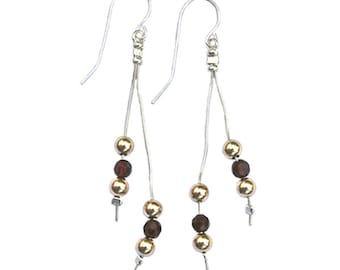 Sterling Silver Earrings with gold-filled beads and garnets - er001