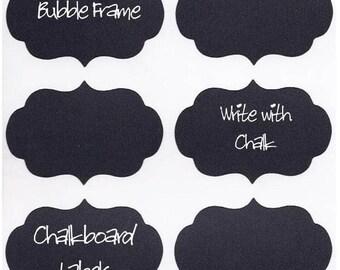 12 Chalk Labels® Bubble Frame Style, Chalkboard Labels, Chalkboard Stickers, Mason Jar Labels