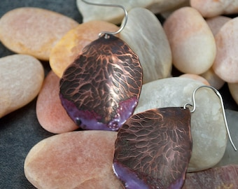 rose petals, rose earrings, handforged, copper, enamel