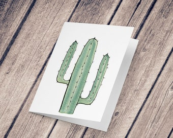 Wish card: Illustration reproduction painted in ink and watercolor, Cactus