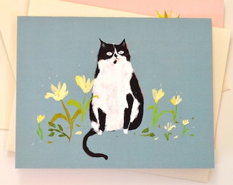 Country Cat Card - Spring Card - Tuxedo Cat - Cat Lover Card - Mother's Day Cat Card