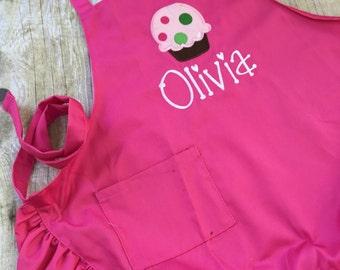 Child Apron, Cupcake Apron, Personalized Child Apron, Pink Ruffle Apron, Apron for Girl, Preschool