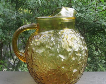 Vintage Gold/ Amber Glass Pitcher - Anchor Hocking Round Ball Pitcher - 1960s Lido Milano Glassware