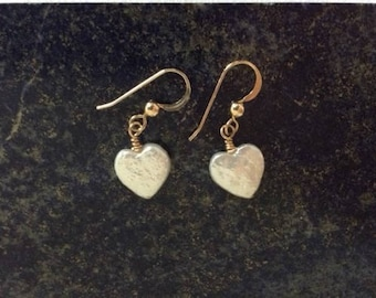 14 Carat Gold Filled Heart Shaped Freshwater Pearl Earrings