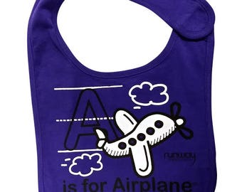 Purple Baby 'A is for Airplane' Bib by runway THREE-SIX