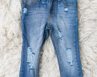 ATU Distressed Denim skinny jeans torn frayed pants medium wash urban street fashion