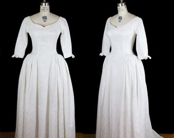 ON SALE 1950s Wedding Dress // White Brocade Princess Gown with Train and Floor Length Skirt