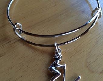 Female Skier Charm Bracelet