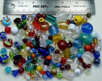 DESTASH - India Lampwork Glass beads - yellows, oranges, reds, blues, greens, clear, white - variety - handmade - beads IN231