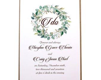 SALE Greenery Wreath Wedding Invitation - Rustic Wedding Suite, Southern Weddings, Custom Rustic Invite, Wreath Invitation, Greenery Invite