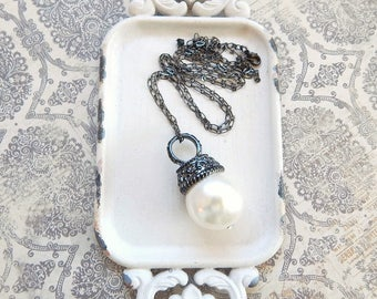 Large pearl necklace - long pearl necklace - gunmetal necklace -