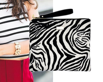 50% off New Zebra Clutch Zipper Closure Evening Bag
