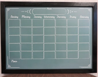 "Large 24""x36"" Green ""Chalkboard"" Calendar Dry Erase Board - Framed Monthly Whiteboard Scheduler - Reusable Organizer - Family Command Center"