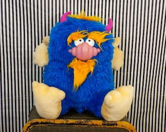 "Vintage 80s Beasty and Me 16"" Blue Plush Monster"