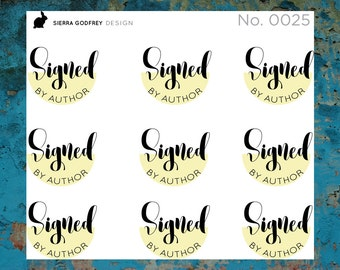 Signed by Author - 0025 Planner Stickers, book stickers, library stickers