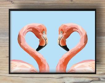 Poster pink flamingo