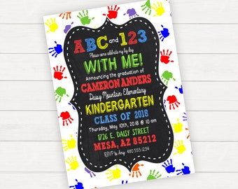 Kindergarten Graduation Invitation, Kindergarten Graduation Announcement, Kindergarten Invitation, Preschool Graduations, Kids Graduation