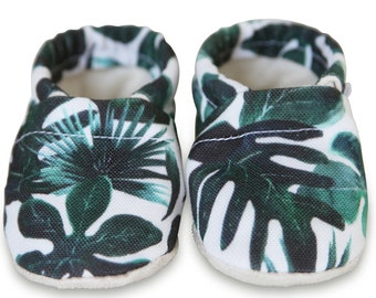 ORGANIC baby shoes, palm print baby shoes, green tropical baby shoes, organic baby shoes