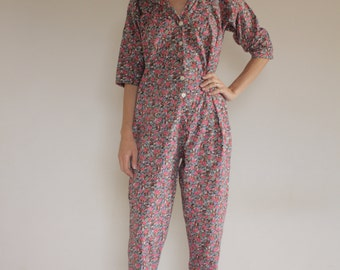80's Liberty print cotton jumpsuit/ English garden flowers!