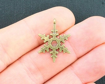 12 Snowflake Charms Antique Bronze Tone - BC1069