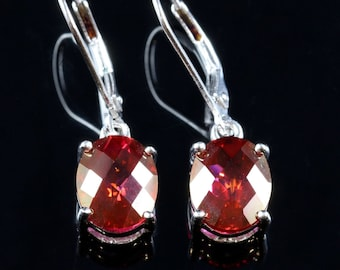 Pink Topaz Earrings 7ct Lovely Ruby Colour