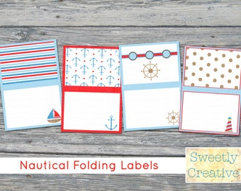 Printable Nautical Folding Labels with Sailboat, Lighthouse, Anchor and Helm - INSTANT DOWNLOAD - Printable Digital File
