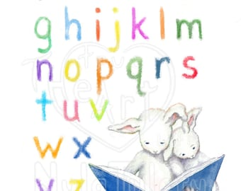 Toddler Art, Nursery Art, Alphabet Bunnies, reading, brothers, sisters, brother and sister, colorful, sweet, bunny art, boy art, girl art
