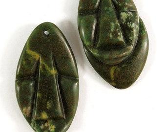 2 VERDITE Shona Pendants Stone Abstract Faces Zimbabwe African 98326