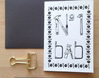 Number One DAD father's day card, luxury letterpress, hand printed